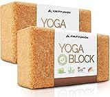 Yoga Block 2er SET Kork 100% Natur - Hatha Klotz auch für Anfänger Meditiation & Pilates, Fitness...